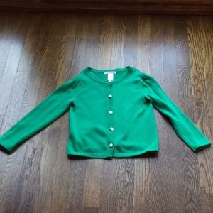Janie and Jack Girls Cotton Sweater Green Sz 5.